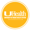 Gold circle with UHealth logo icon linked Health informational webpage