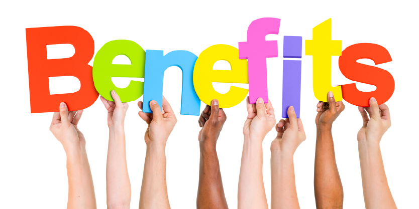 Hands holding letters to spell benefits