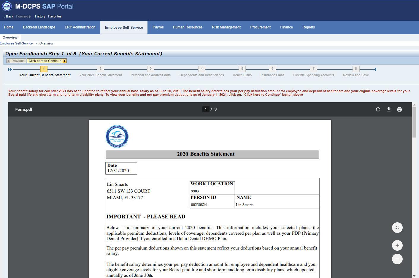 SAP Intro screen